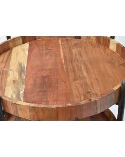 Kulatý regál z teakového dřeva, 60x60x92cm