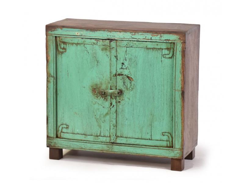 Skříňka z teakového dřeva, zelená patina, 60x24x58cm