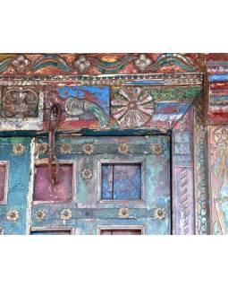 Antik dveře s rámem z Gujaratu, teakové dřevo, malované, 150x24x218cm