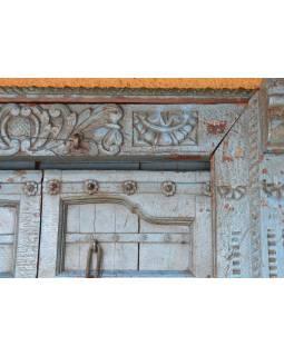 Antik dveře s rámem z Gujaratu, teakové dřevo, malované, 155x28x220cm