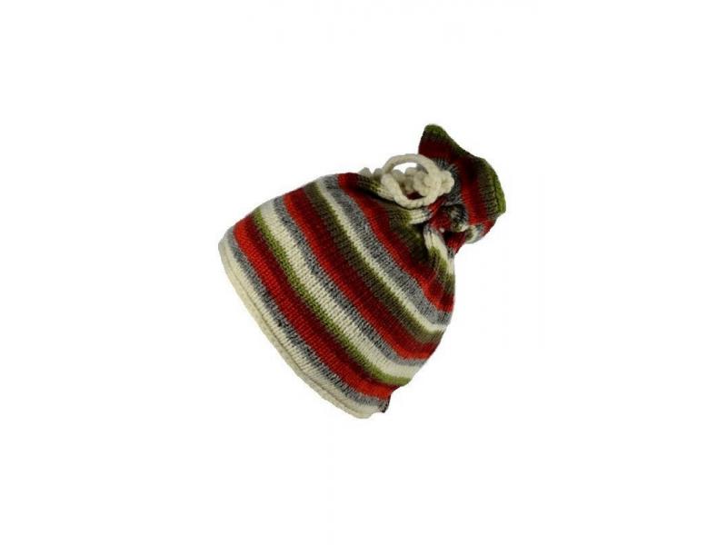 Čepice, rolák, vlna, podšívka, pruhy červeno-šedo-zelené