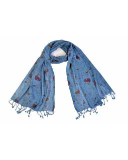 Šátek, bavlna, modrý, potisk zvířátka, 60x180cm