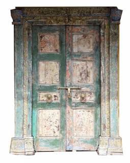 Antik dveře s rámem z Gujaratu, teakové dřevo, malované, 164x38x222cm