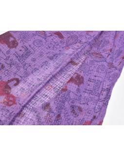 Šátek, bavlna, fialový, potisk zvířátka, 60x180cm