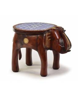 Stolička ve tvaru slona zdobená keramickými dlaždicemi, 50x35x38cm