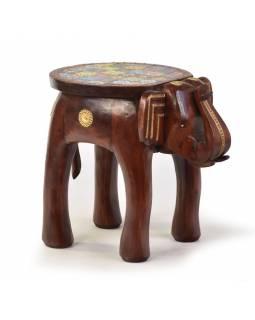 Stolička ve tvaru slona zdobená keramickými dlaždicemi, 50x35x45cm