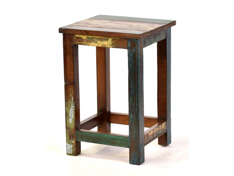 """Stolička z antik teakového dřeva v """"Goa"""" stylu, 30x30x46cm"""