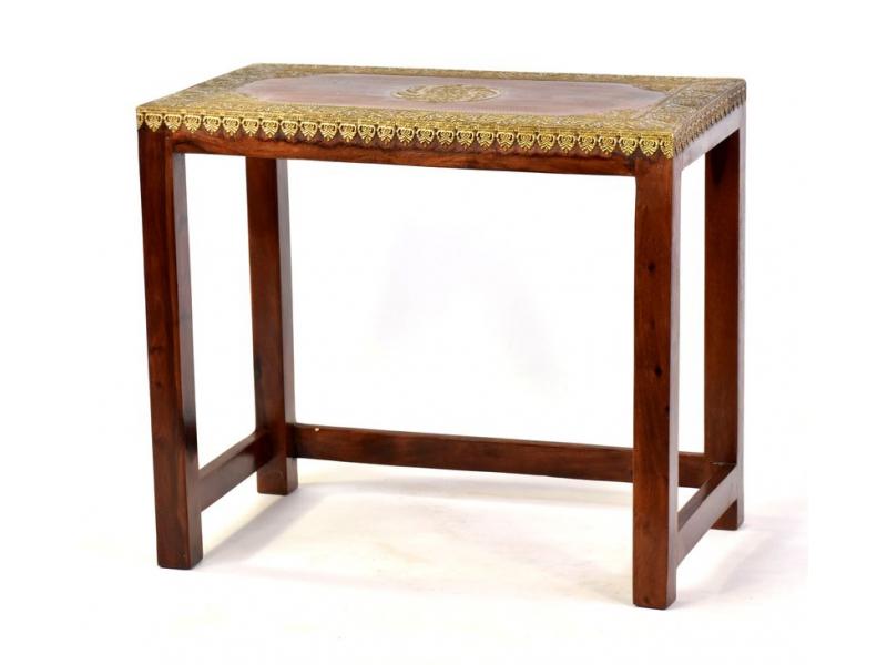 Stolička z palisandrového dřeva zdobená mosazí, 60x35x52cm