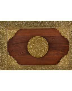 Stolička z palisandrového dřeva zdobená mosazí, 48x33x45cm