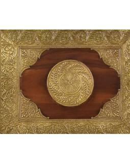 Stolička z palisandrového dřeva zdobená mosazí, 38x30x39cm