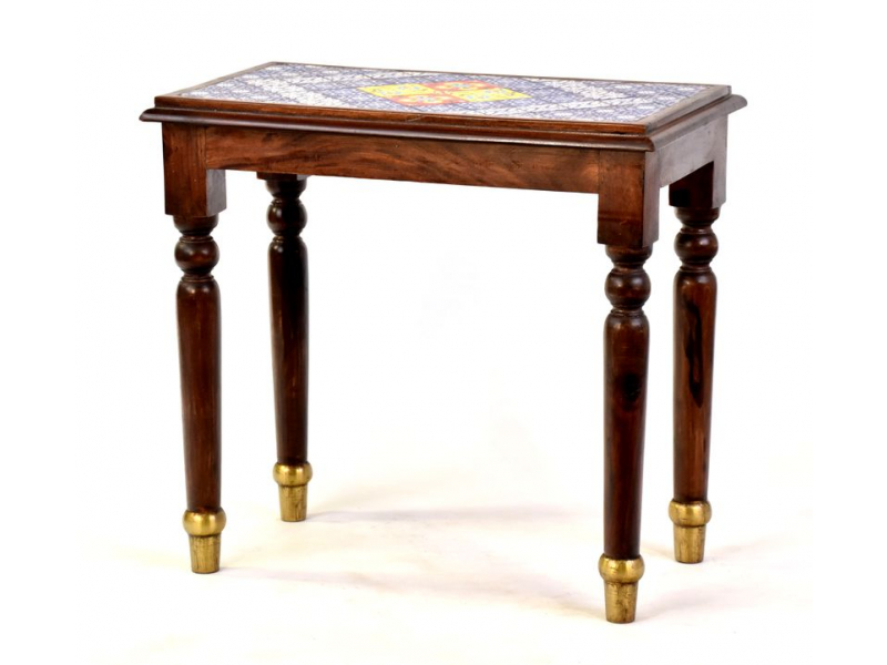 Stolička z palisandrového dřeva zdobená dlaždicemi, 58x33x54cm