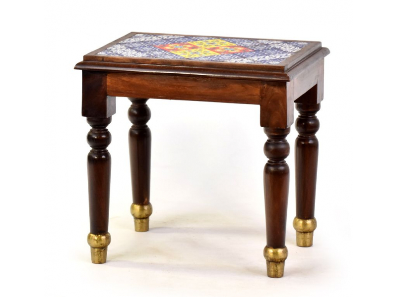 Stolička z palisandrového dřeva zdobená dlaždicemi, 42x30x42cm