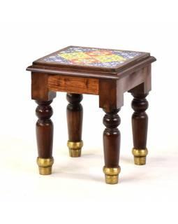 Stolička z palisandrového dřeva zdobená dlaždicemi, 28x26x32cm