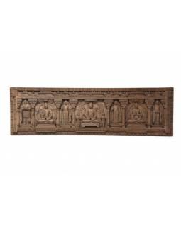 Vyřezávaný panel 5 Buddhů, antik, 228x8x68cm