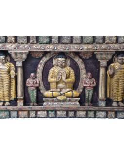 Vyřezávaný panel 5 Buddhů, malovaný antik, 212x7x52cm