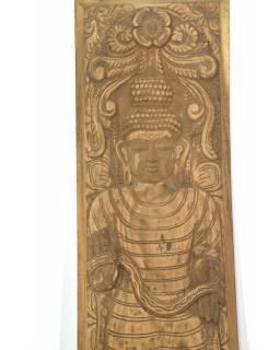 Vyřezávaný panel Buddha, antik, 36x3x163cm