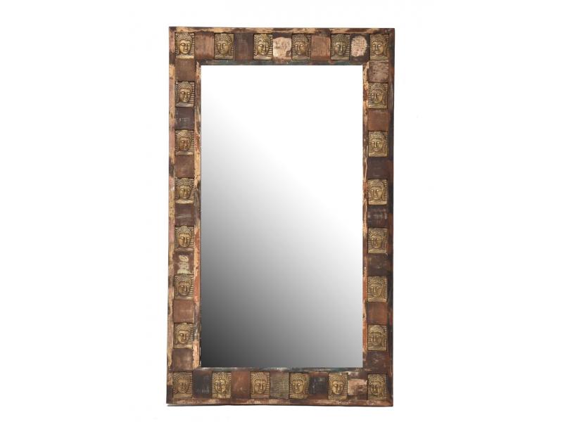 Zrcadlo v rámu zdobeném reliéfy buddhů, 90x150x5cm