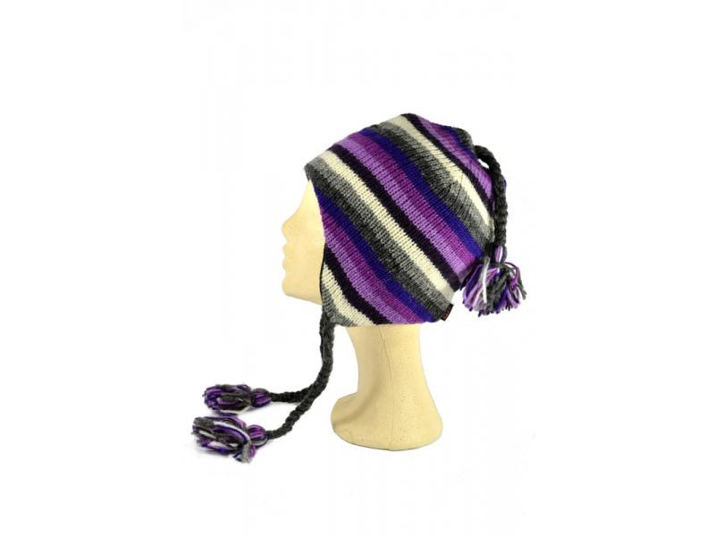 Čepice, uši, vlna, podšívka, pruhy fialovo-šedo-růžové