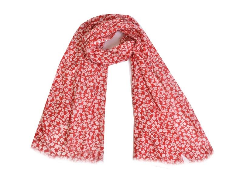 Šátek, bavlna, červený,  bílý potisk květy, 70x180cm