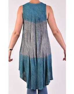 Krátké modro-šedé šaty bez rukávu, potisk, výšivka