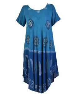 Krátké modré šaty s rukávkem, výšivka, potisk
