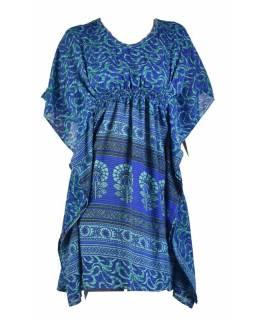Krátké modré šaty s potiskem, krátký rukávek