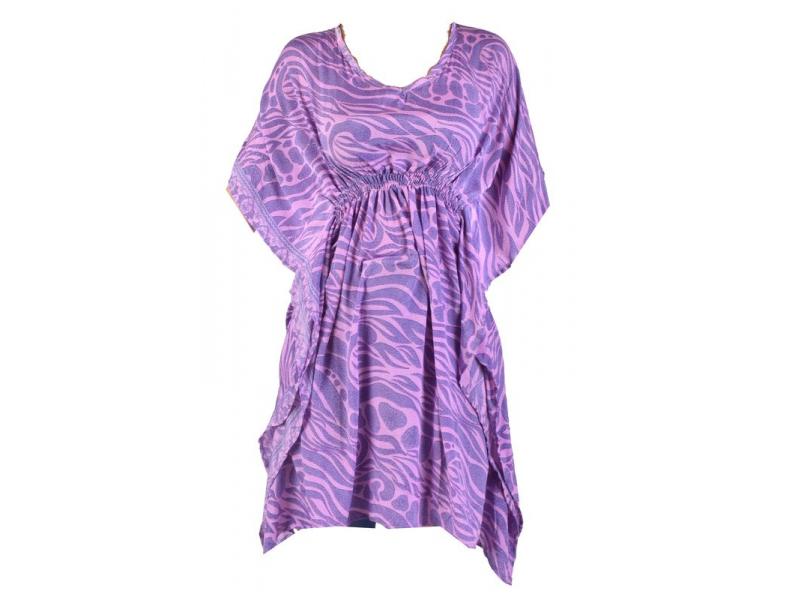 Krátké fialové šaty s potiskem, krátký rukávek