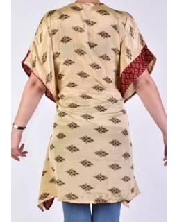 Krátké béžové šaty s potiskem, krátký rukávek
