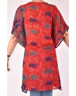 Krátké červeno-modré šaty s potiskem, krátký rukávek