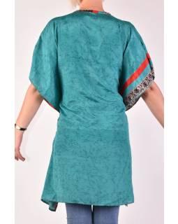 Krátké tyrkysové šaty s potiskem, krátký rukávek