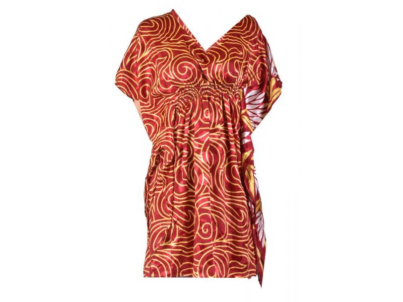 Krátké vínové šaty s potiskem, krátký rukávek
