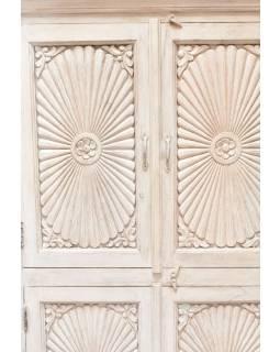 Skříň z teakového dřeva, ruční řezby, bílá patina, 96x43x160cm