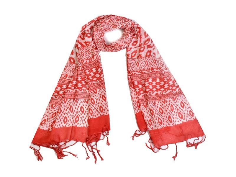 Červeno bílý bavlněný šátek s třásněmi, 70x180cm