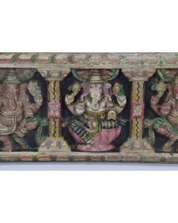 Vyřezávaný panel Ganesh, malovaný, 92x30x5cm