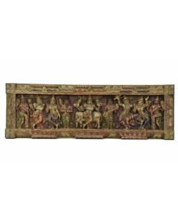 Vyřezávaný panel Vishnu, malovaný, 92x29x4cm
