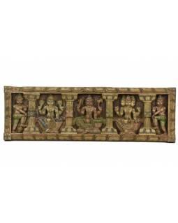 Vyřezávaný panel Shiva, malovaný, 92x29x4cm