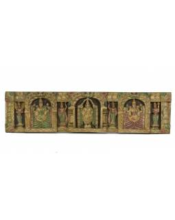 Vyřezávaný panel Laxmi, malovaný, 104x26x5cm