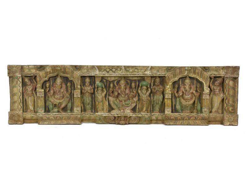 Vyřezávaný panel Ganesh, malovaný, 123x32x5cm