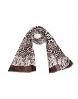 Hnědo bílý bavlněný šátek s třásněmi, 70x180cm