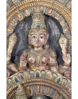 Vyřezávaný antik panel Shiva a Parvati, 66x14x133cm