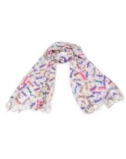 Šátek s motivem vážek a třásněmi, bílý podklad, 180x75cm