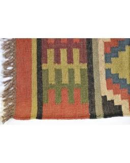 Koberec, ručně tkaný, vlna, juta, 75x197cm