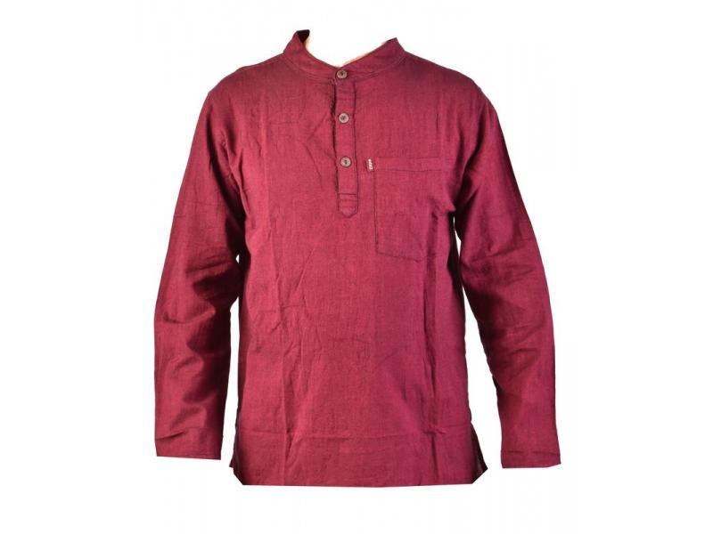 Vínová pánská košile-kurta s dlouhým rukávem a kapsičkou, měkčené provedení