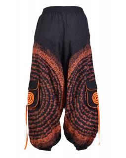 Turecké kalhoty s kapsami, guma v pase, černo-oranžové, potisk mantra a sloni