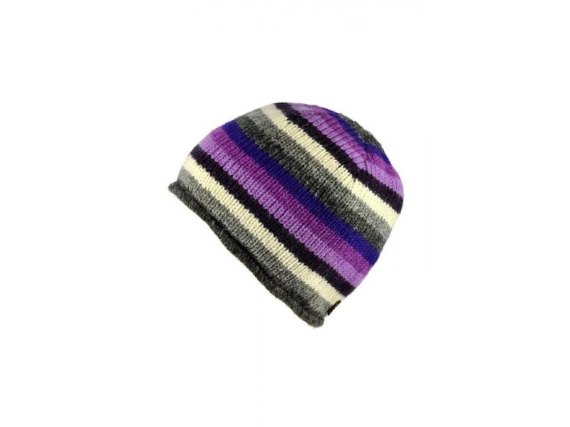 Čepice, vlna, podšívka, pruhy fialovo-šedo-růžové
