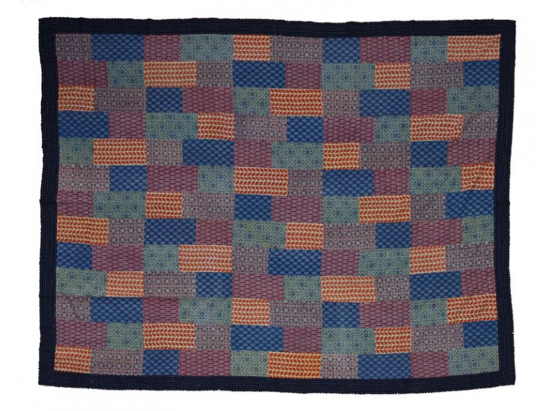 Přehoz na postel, patchwork, block print, ruční práce, prošívání, 216x276cm