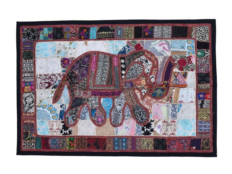 Unikátní patchworková tapiserie z Rajastanu, ruční práce, 103x156cm
