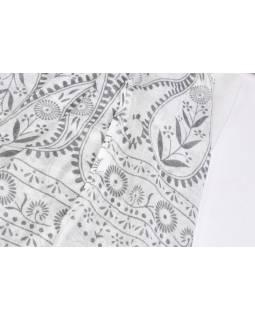 Bílý sárong, potisk květiny, viskóza, 110x180cm