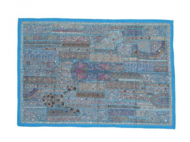 Unikátní tapiserie z Rajastanu, tyrkysová, ruční zlaté vyšívání, 108x157cm