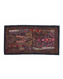 Unikátní tapiserie z Rajastanu, černá, ruční vyšívání, 67x129cm